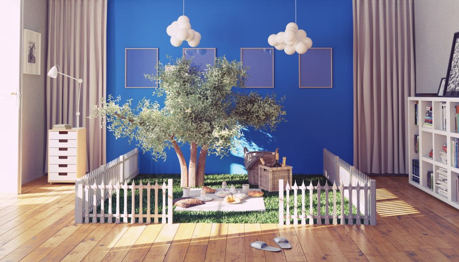 Children's play zone with faux grass, trees and fence. Perfect with indoor picnics