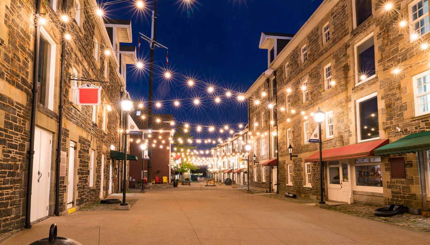 an image of a Halifax alley with hanging lights