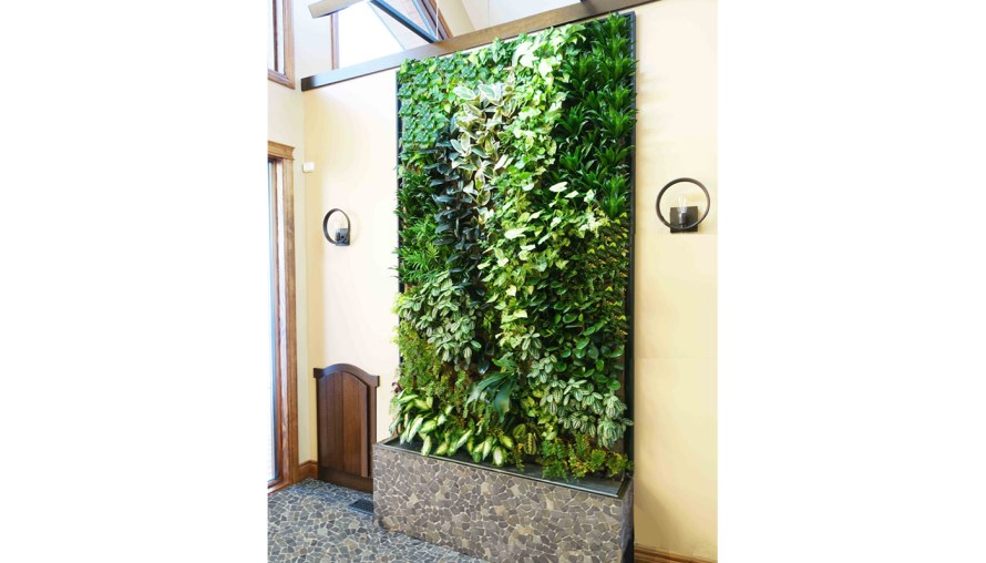 a well-lit living plant wall with a cobblestone base