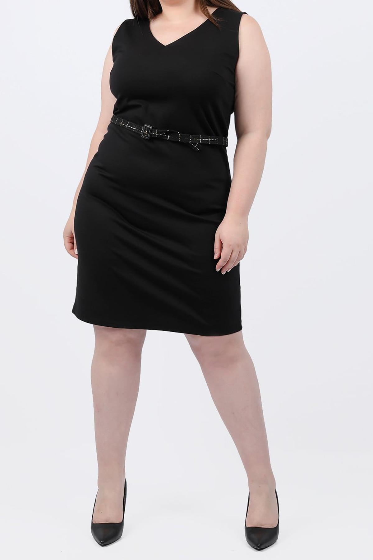 Αμάνικο φόρεμα με ζώνη μαύρο