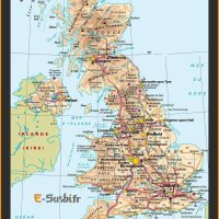 Carte d-Angleterre - Grande Bretagne ou Royaume Uni