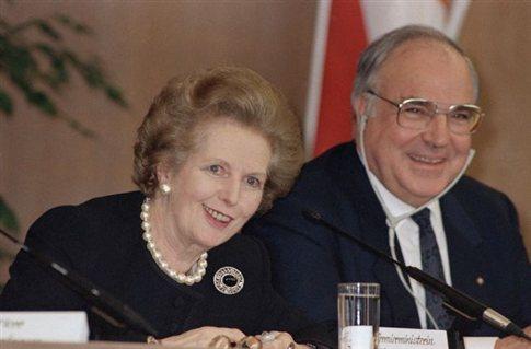 Η Μάργκαρετ Θάτσερ με τον Χέλμουτ Κολ