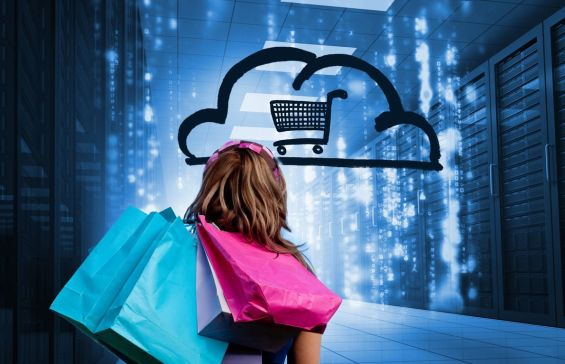 Woman in a data center holding shopping bags