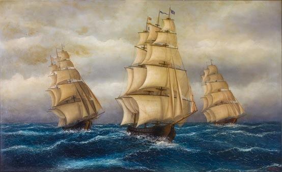 Καράβια σε αγριεμένη θάλασσα. Έργο του ζωγράφου Γιώργου Σιδηρόπουλου.