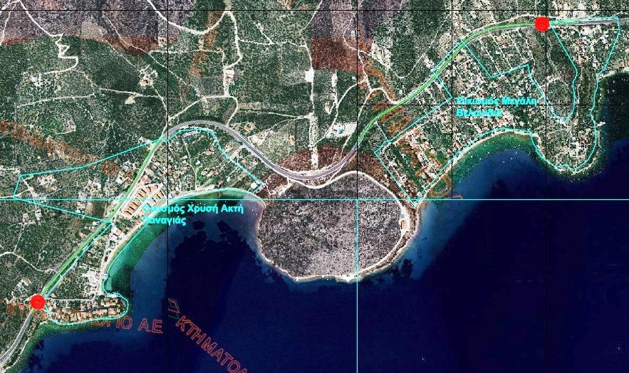 Το έργο αφορά, όπως φαίνεται και στον χάρτη, στη μελέτη δύο κόμβων, στις εισόδους των οικισμών Μ. Βελανιδιά και Χρυσή Ακτή Παναγιάς, προκειμένου να εκλείψουν τα προβλήματα κυκλοφορίας και οδικής ασφάλειας