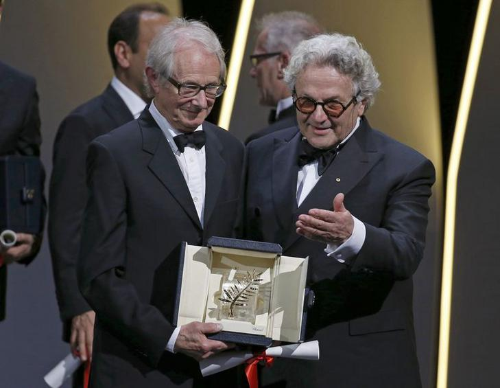 "Director Ken Loach, Palme d'Or award winner for his film ""I, Daniel Blake"", poses during the closing ceremony of the 69th Cannes Film Festival in Cannes"