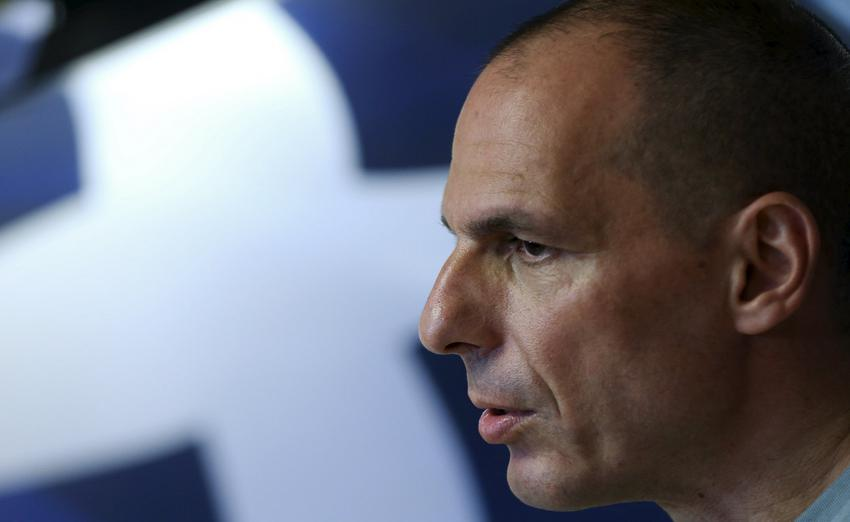 File picture of Greek Finance Minister Varoufakis making a statement in Athens
