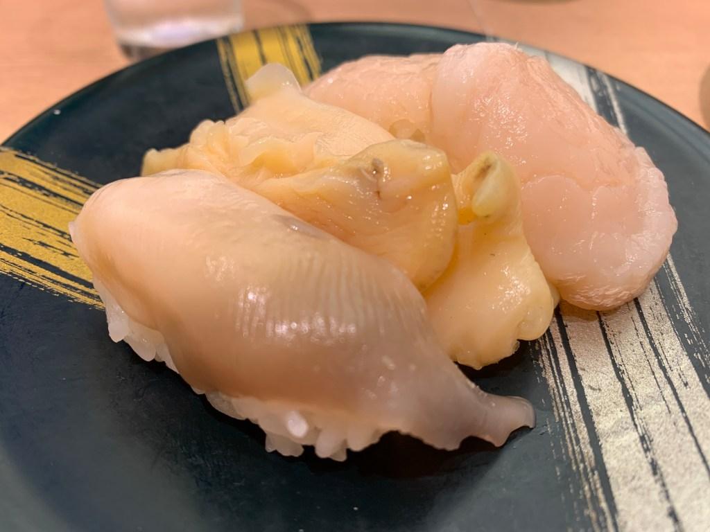 回転寿司函太郎の貝3冠盛り