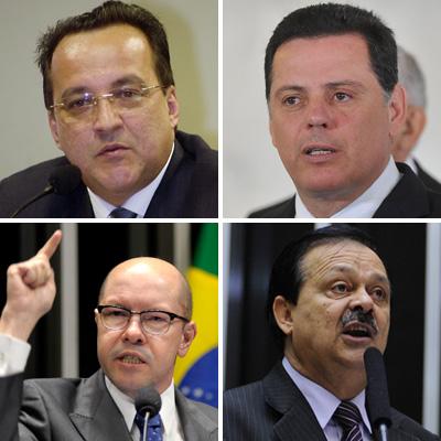 No sentido horário, Carlinhos Cachoeira (no alto, à esq.), Marconi Perillo (PSDB), Jovair Arantes (PTB) e Demóstenes Torres (DEM) (Foto: Arquivo)