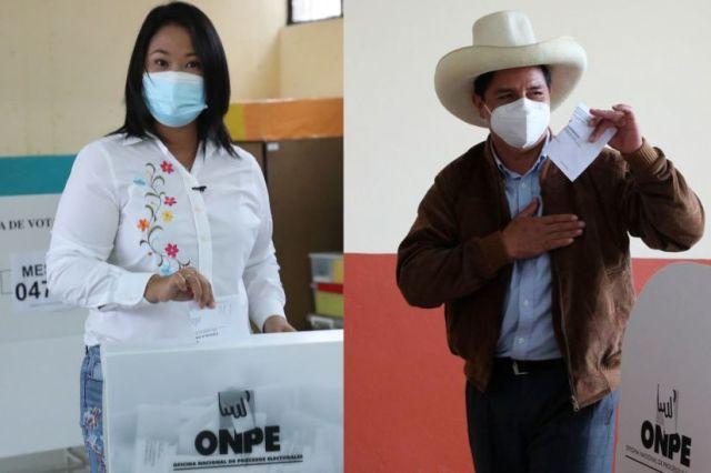 Keiko Fujimori 52,905 % y Pedro Castillo 47, 095 %, según 42.030% de actas contabilizadas por la ONPE