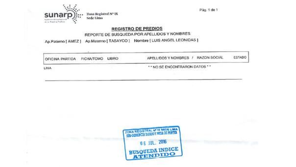 Reporte de Búsqueda de Índices por Nombre en el Registro de Propiedad Inmueble de Sunarp para retiro del 25% de AFP para vivienda.