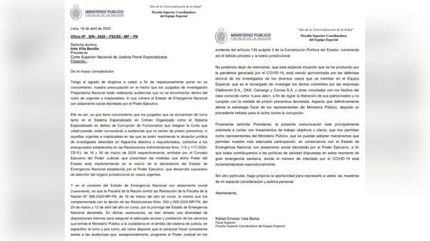 El documento enviado por el fiscal Rafael Vela