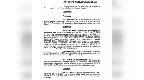 Parte de la disposición fiscal que incluye a los investigados por el caso IIRSA Norte.