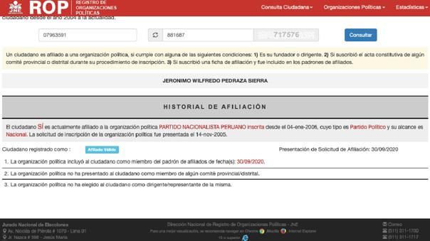 Wilfredo Pedraza, exministro del Interior se inscribió nuevamente en el Partido Nacionalista.