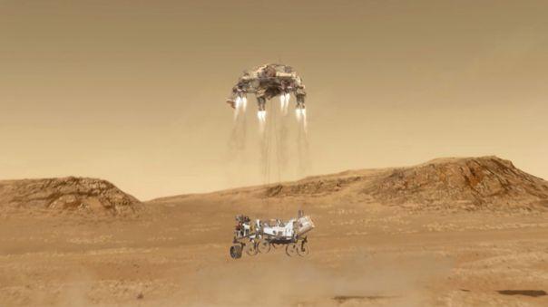 Así luce el concepto del aterrizaje del robot en la superficie marciana.