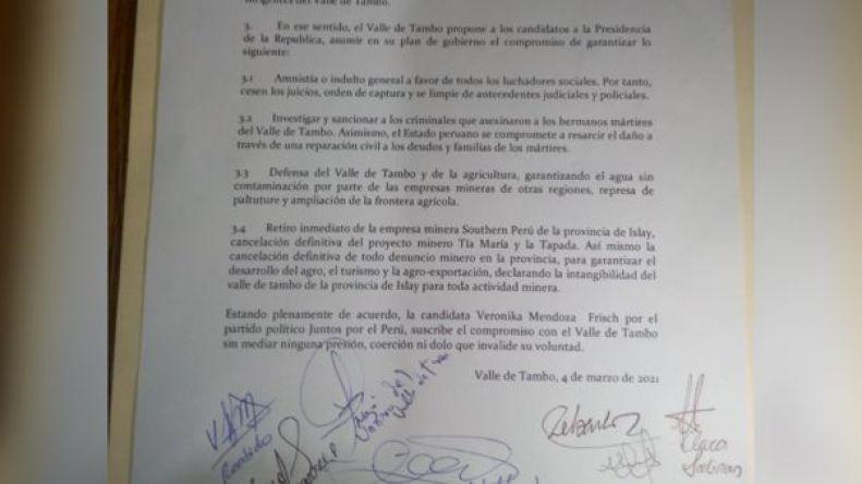 Verónika Mendoza señalo que un eventual gobierno no se ejecutará el proyecto Tía María.