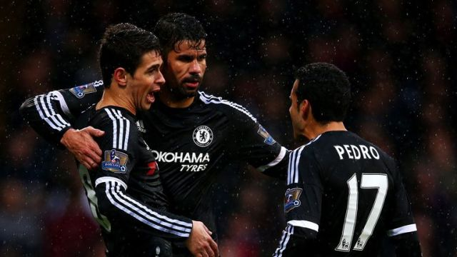Oscar (left) celebrates his opening goal with Diego Costa and Pedro (right)