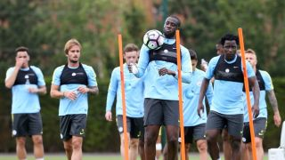 Yaya Toure (front) and Wilfried Bony (right) took part in the session
