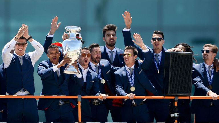 The Portugal stars paraded their silverware into Lisbon city centre