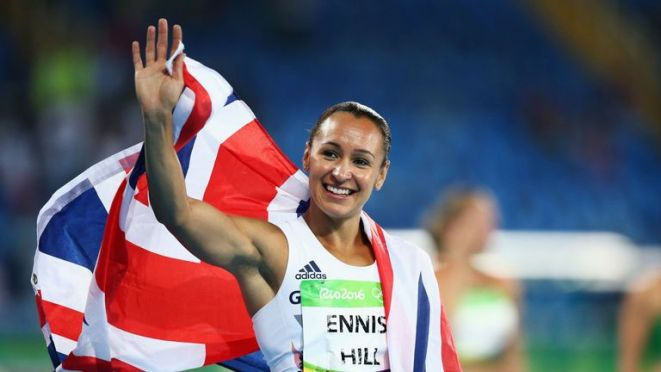 Jessica Ennis-Hill celebrates winning a silver medal in the Women's Heptathlon