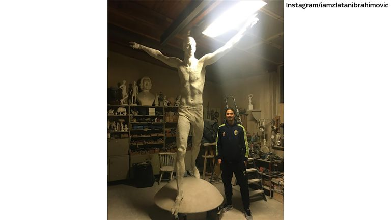 Zlatan Ibrahimovic posted this image of him standing next to his statue to his Instagram account. Picture courtesy of Instagram/iamzlatanibrahimovic