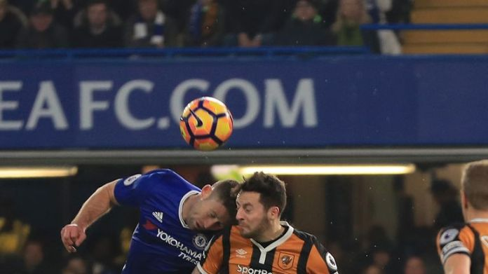 Mason collided with Gary Cahill at Stamford Bridge