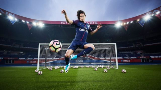 Top scorer Edinson Cavani models PSG's new home kit