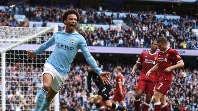 Leroy Sane scores a fourth against 10-man Liverpool