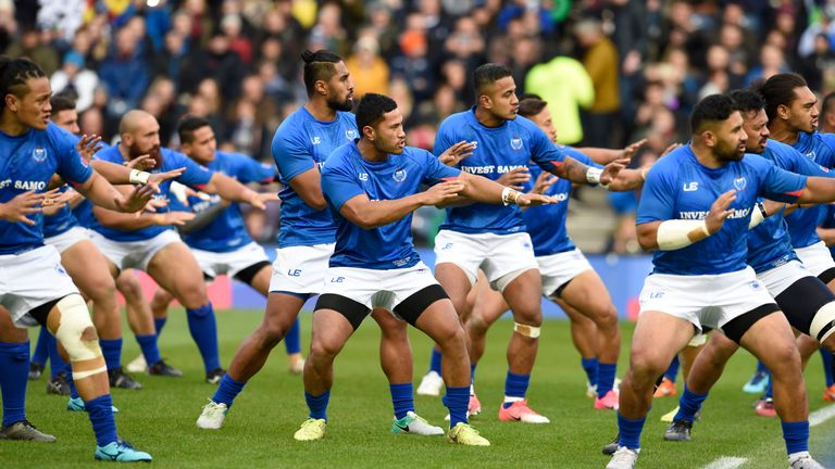 The Samoa team perform the Siva Tau war dance