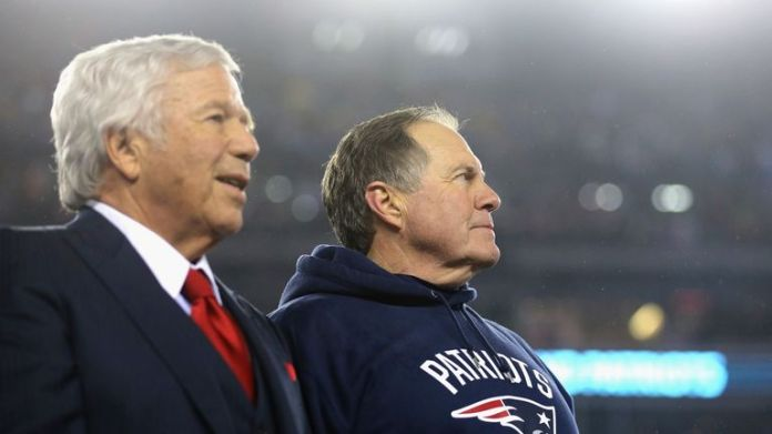 Robert Kraft, owner and CEO of the New England Patriots (L) with head coach Bill Belichick
