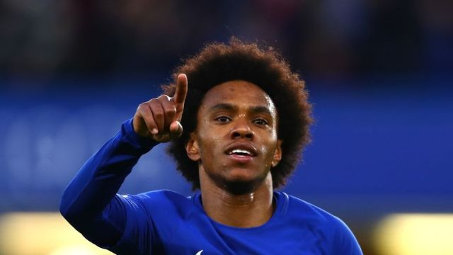 Willian celebrates after scoring Chelsea's opening goal in the first leg