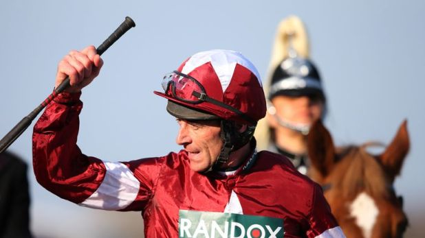 Davy Russell celebrates his Grand National victory on Tiger Roll