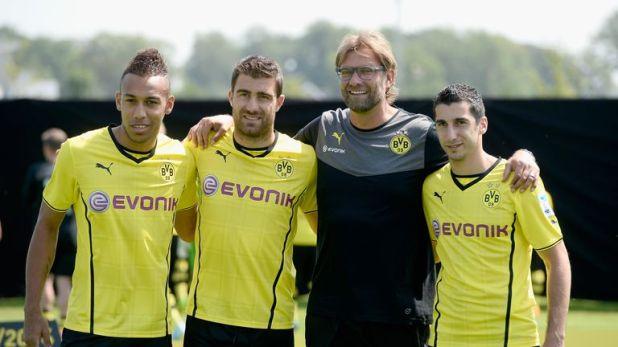Sokratis (2nd L) could join former Dortmund team-mates Pierre-Emerick Aubameyang (L) and Henrikh Mkhitaryan (R) at Arsenal
