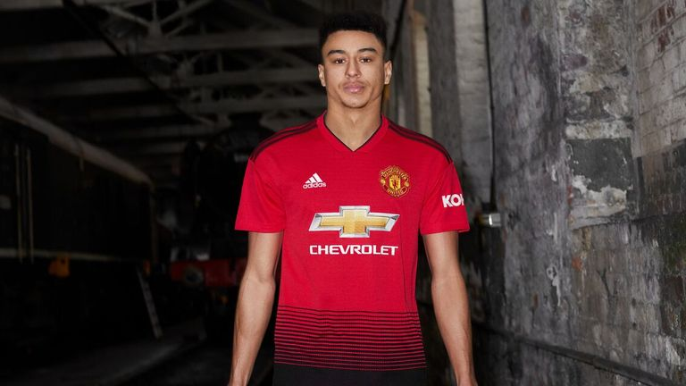 Jesse Lingard models the club's new home kit