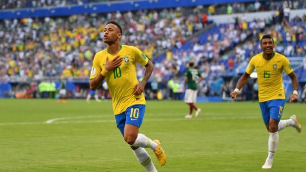 Neymar played for Brazil at the World Cup in Russia