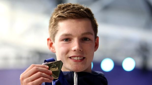 Duncan Scott with his gold medal after winning the men's 200m freestyle