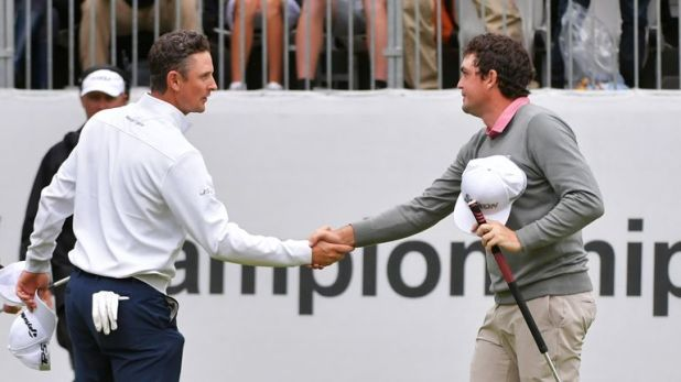 Bradley (right) beat Justin Rose in a play-off