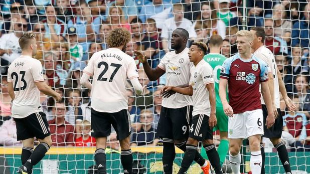 Romelu Lukaku is congratulated after scoring United's second goal at Burnley