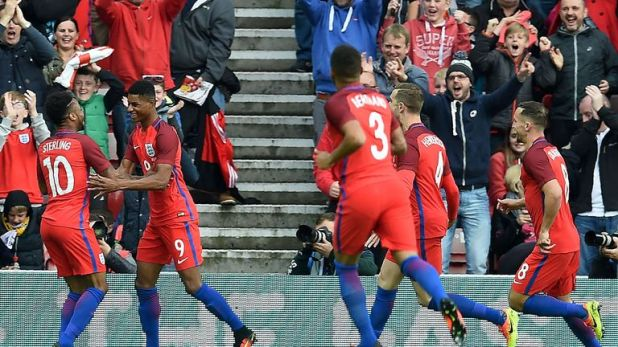 Rashford was left to celebrate a goal only three minutes into his England debut