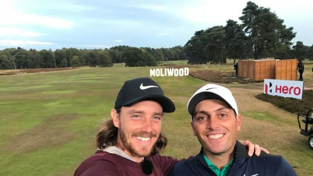 Tommy Fleetwood and Francesco Molinari share a selfie at the British Masters
