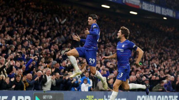Alvaro Morata celebrates his second goal against Crystal Palace