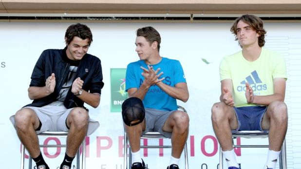 From L-R: Taylor Fritz, Alex de Minaur and Stefanos Tsitsipas will all feature in Milan