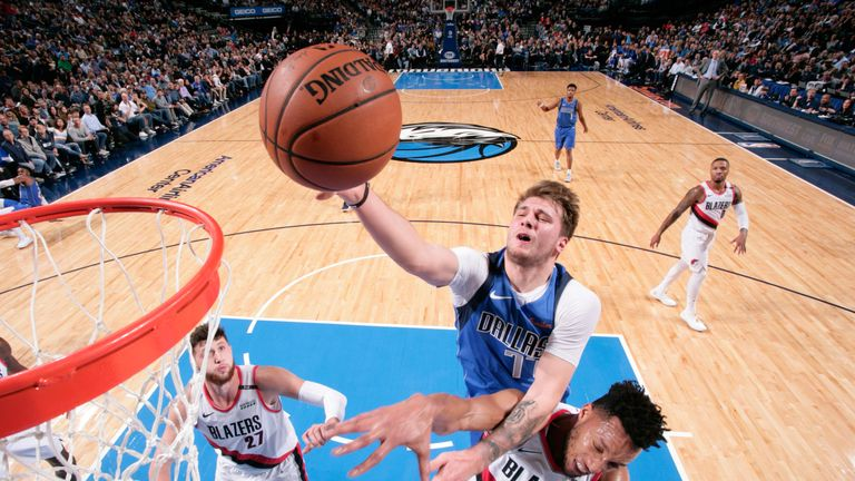 Luka Doncic attacks the rim against Portland