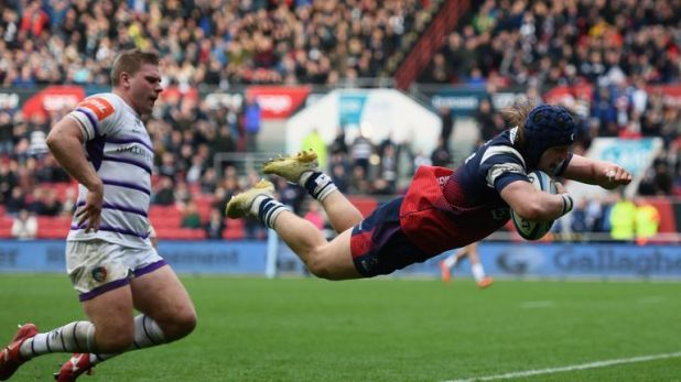 Harry Thacker notched two tries for Bristol against his old club Leicester