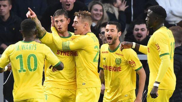 Emiliano Sala celebrates after scoring for Nantes