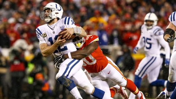 Andrew Luck had a hard time in the pocket against a ferocious Chiefs defense