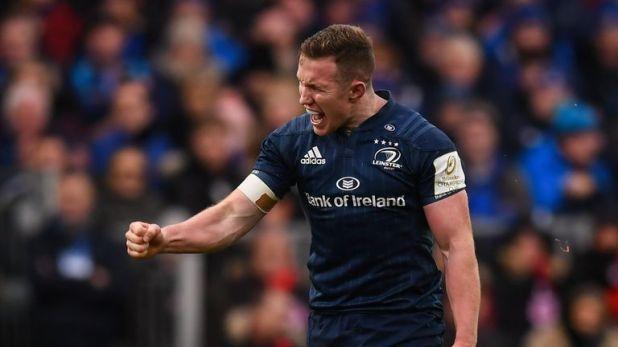 Rory O'Loughlin of Leinster celebrates a breakdown turnover