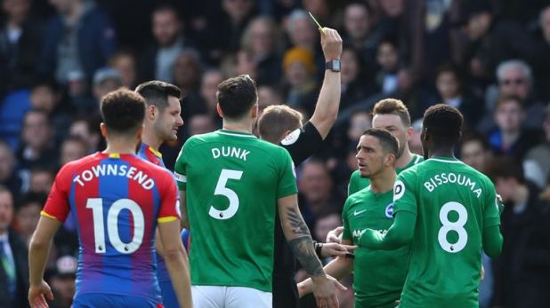Anthony Knockaert picked up a yellow card for a sliding challenge on Luke Milivojevic