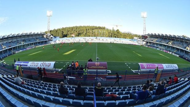 Fans face a language test at the Podgorica City Stadium on Monday