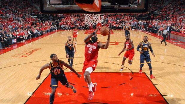 James Harden elevates to the rim for an easy finish